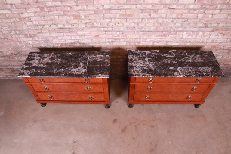 Baker Furniture Neoclassical Burl Wood Marble-Top Chests, Pair For Sale 2