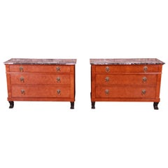 Baker Furniture Neoclassical Burl Wood Marble-Top Chests, Pair