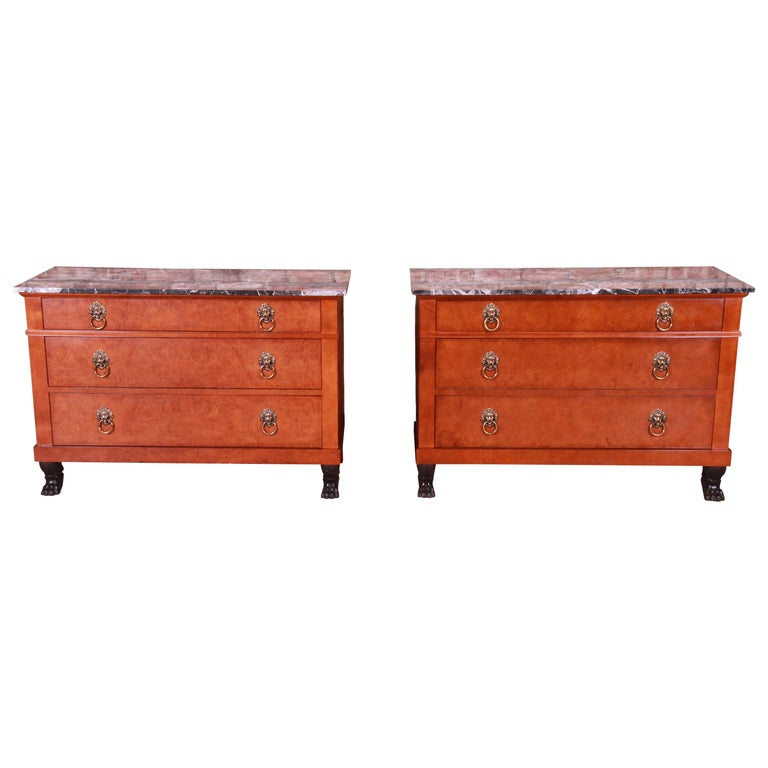 Baker Furniture Neoclassical Burl Wood Marble-Top Chests, Pair For Sale