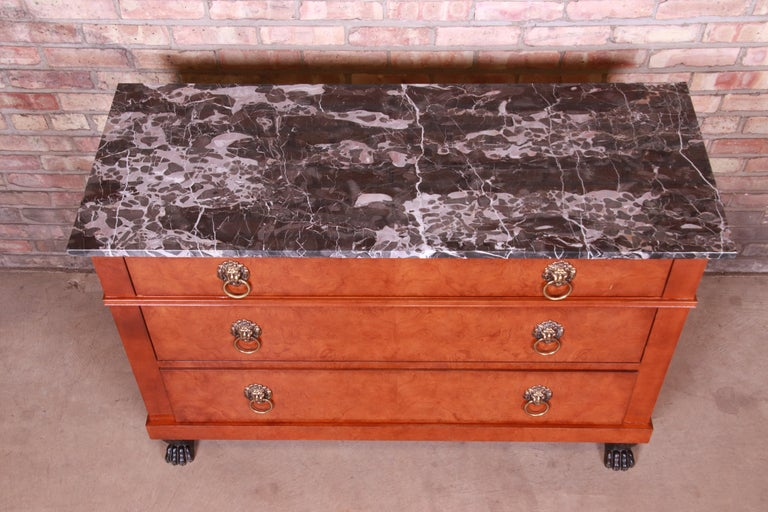 20th Century Baker Furniture Neoclassical Burl Wood Marble-Top Commode or Chest of Drawers For Sale