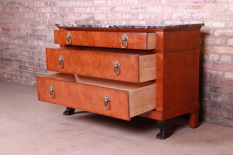 Baker Furniture Neoclassical Burl Wood Marble-Top Commode or Chest of Drawers For Sale 2