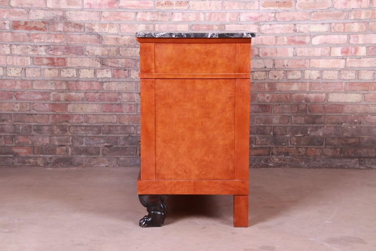 Baker Furniture Neoclassical Burl Wood Marble-Top Commode or Chest of Drawers For Sale 3