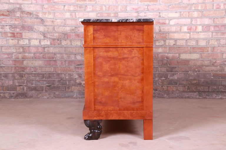 Baker Furniture Neoclassical Burl Wood Marble Top Commode or Chest of Drawers For Sale 3