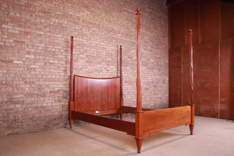 20th Century Baker Furniture Neoclassical Carved Cherrywood Four Poster Queen Size Bed For Sale