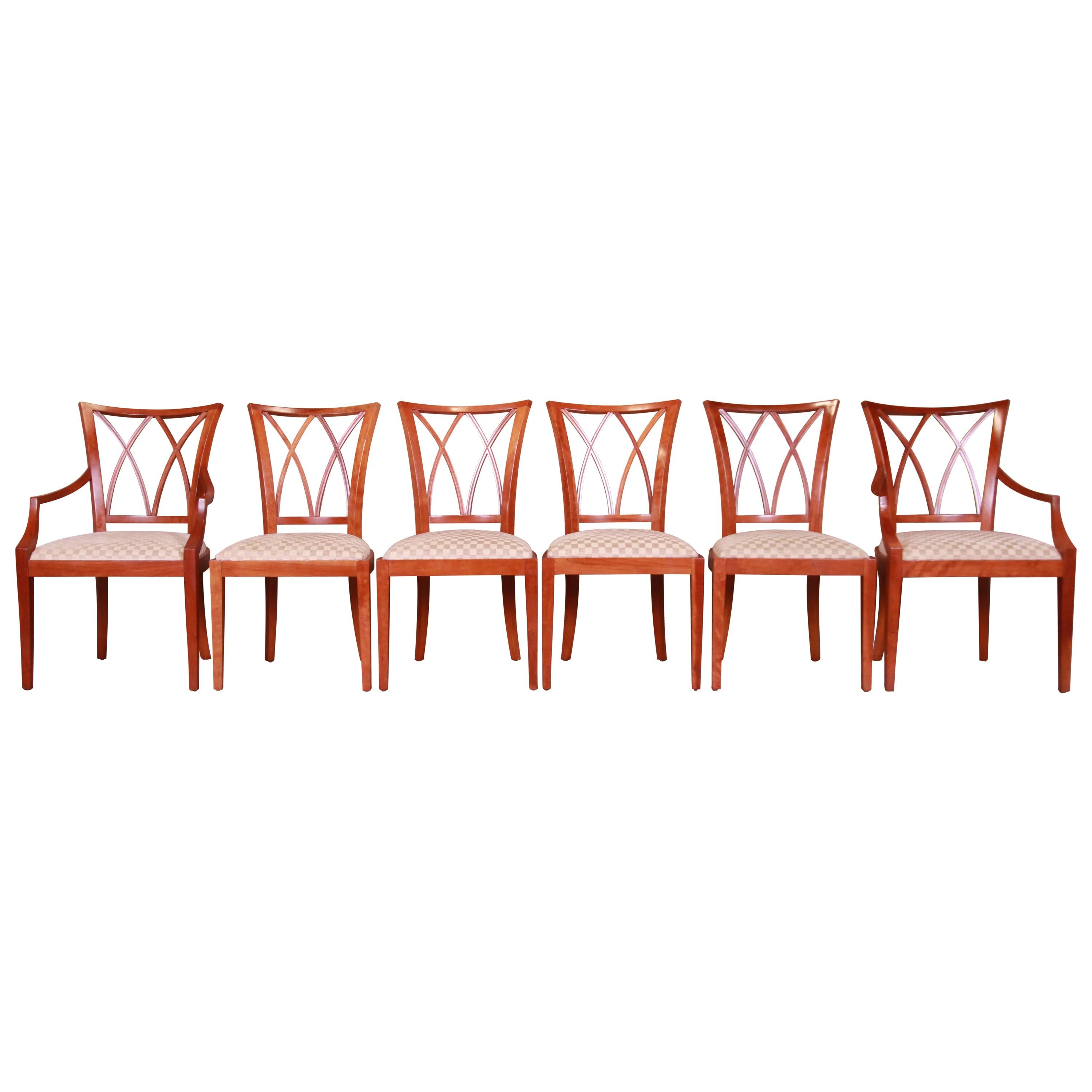 Baker Furniture Neoclassical Carved Cherrywood Dining Chairs, Set of Six