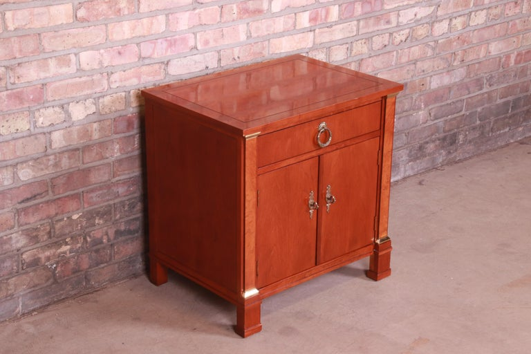 Brass Baker Furniture Neoclassical Cherry and Burl Wood Nightstand For Sale