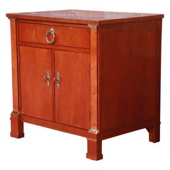 Baker Furniture Neoclassical Cherry and Burl Wood Nightstand