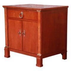 Baker Furniture Neoclassical Cherry and Burl Wood Nightstand