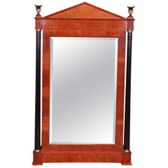 Baker Furniture Neoclassical Cherry and Burl Wood Wall Mirror
