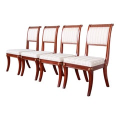 Baker Furniture Neoclassical Greek Key Dining Chairs, Set of Four