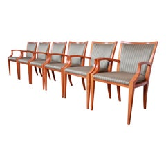 Baker Furniture Neoclassical Maple Dining Chairs with Silk Upholstery, Set of 6