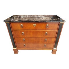 Baker Furniture Neoclassical Regency Mahogany Marble Top Commode