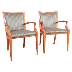 Baker Furniture Neoclassical Solid Maple Armchairs with Silk Upholstery, Pair
