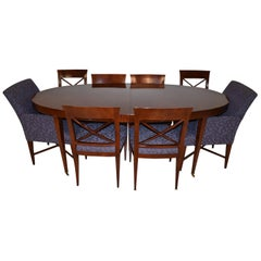 """Baker Furniture Oval Dining Table & Chairs """"Archetype"""" Designed by M. Vanderdyl"""