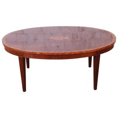 Baker Furniture Oval Inlaid Mahogany and Satinwood Marquetry Cocktail Table