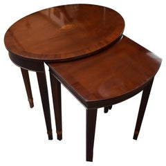 Baker Furniture Oval Nesting Tables Mahogany & Fruitwood Inlay