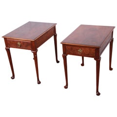 Baker Furniture Queen Anne Burled Walnut Nightstands or End Tables, Pair