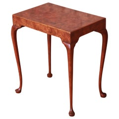 Baker Furniture Queen Anne Burled Walnut Occasional Side Table