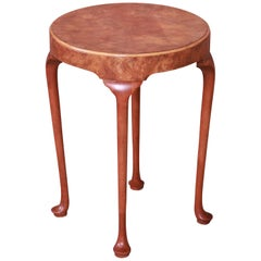 Baker Furniture Queen Anne Burled Walnut Tea Table or Occasional Side Table