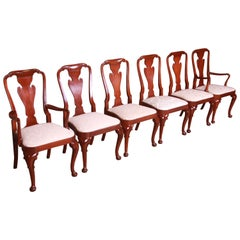 Baker Furniture Queen Anne Carved Mahogany Dining Chairs, Set of Six