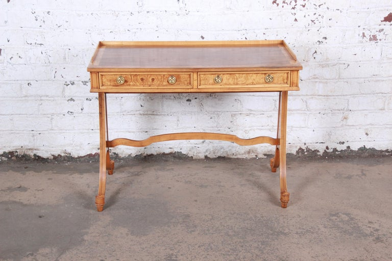 American Baker Furniture Regency Burl Wood and Walnut Sofa Table or Writing Desk For Sale