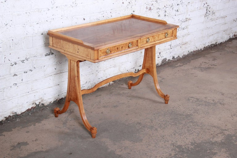 Baker Furniture Regency Burl Wood and Walnut Sofa Table or Writing Desk In Good Condition For Sale In South Bend, IN