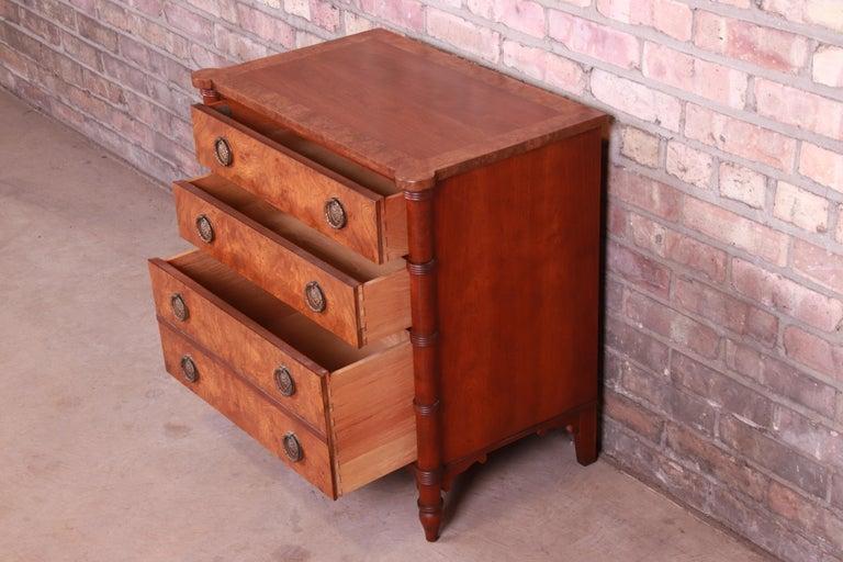 Baker Furniture Regency Burled Walnut Bachelor Chest or Commode For Sale 4