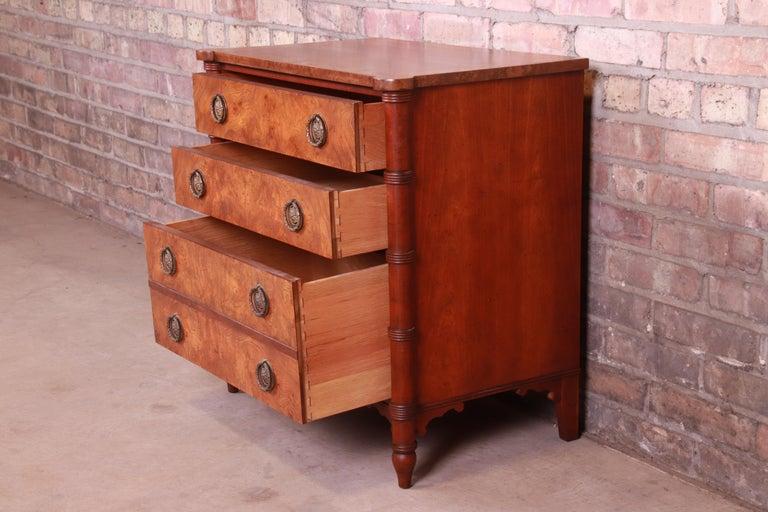 Baker Furniture Regency Burled Walnut Bachelor Chest or Commode For Sale 5