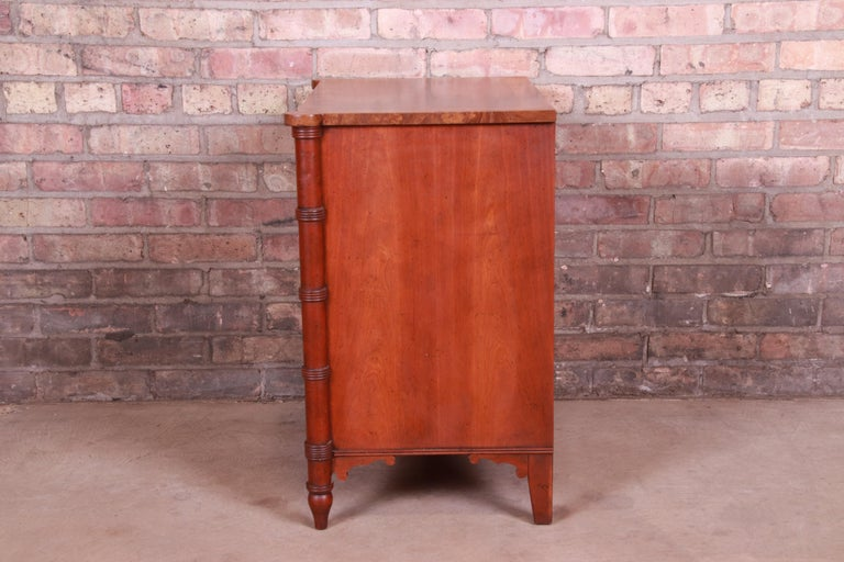 Baker Furniture Regency Burled Walnut Bachelor Chest or Commode For Sale 6