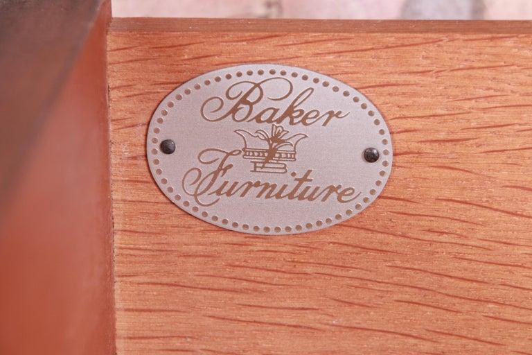 Baker Furniture Regency Burled Walnut Bachelor Chest or Commode For Sale 7