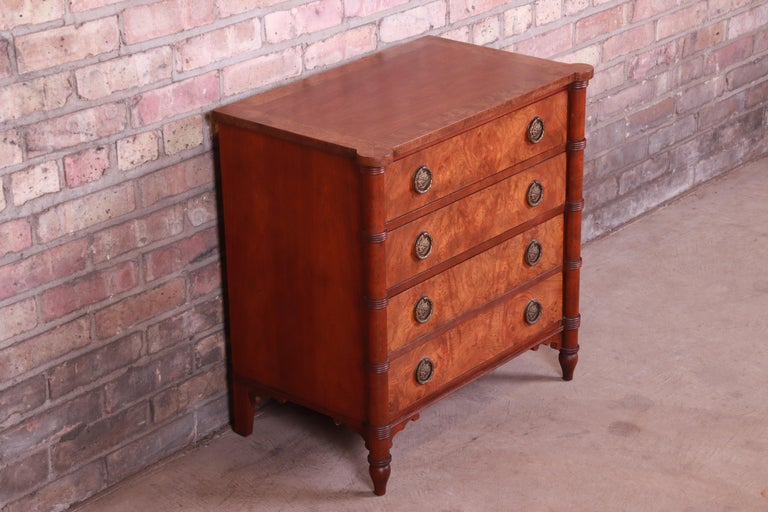 20th Century Baker Furniture Regency Burled Walnut Bachelor Chest or Commode For Sale