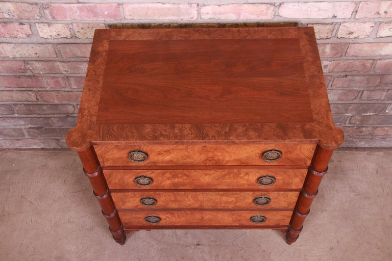 Baker Furniture Regency Burled Walnut Bachelor Chest or Commode For Sale 1