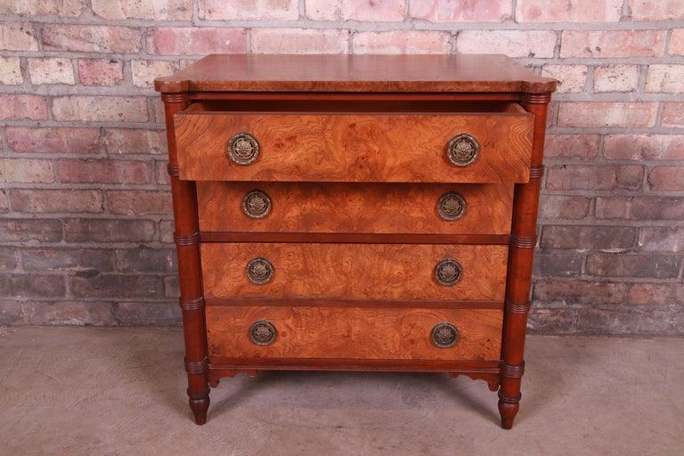 Baker Furniture Regency Burled Walnut Bachelor Chest or Commode For Sale 2