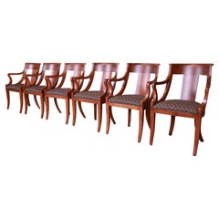 Baker Furniture Regency Cherry Wood Dining Armchairs, Newly Refinished