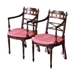 Baker Furniture Regency Ebonized and Gold Gilt Armchairs, Pair