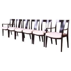 Baker Furniture Regency Ebonized Dining Chairs, Set of Six