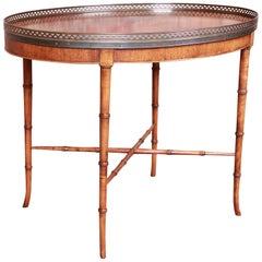 Baker Furniture Regency Faux Bamboo Walnut Tea Table