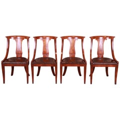 Baker Furniture Regency Klismos Style Mahogany Dining Chairs, Set of Four