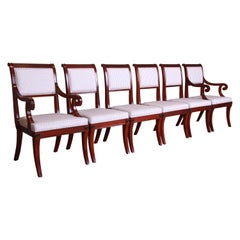Baker Furniture Regency Mahogany and Ebonized Greek Key Dining Chairs, Set of 6