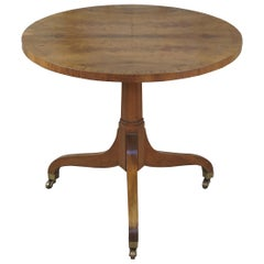 Baker Furniture Regency Style Book-Matched Walnut Side Table Tripod Pedestal