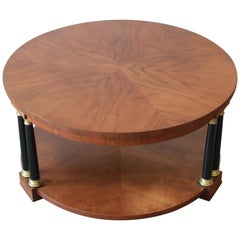 Baker Furniture Walnut Neoclassical Coffee Table, Newly Refinished