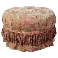 Baker Furniture Round Tufted Ottoman Traditional French Pouf Rolling Footstool