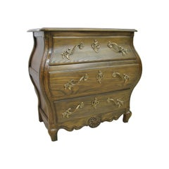 Baker Furniture Solid Oak Three-Drawer Louis XV Style Bombe Chest