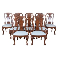 Baker Furniture Stately Homes Chippendale Burled Walnut Dining Chairs, Set of 10