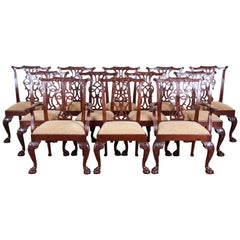 Baker Furniture Stately Homes Chippendale Mahogany Dining Chairs, Set of 12