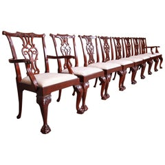 Baker Furniture Stately Homes Chippendale Mahogany Dining Chairs, Set of Eight