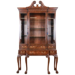 Baker Furniture Stately Homes Chippendale Walnut Breakfront Cabinet or Bookcase