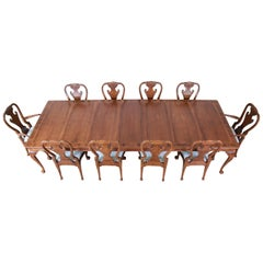 Baker Furniture Stately Homes Collection Chippendale Walnut Dining Set, Restored