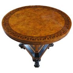 Baker Furniture Stately Homes Regency Centre Table Burr Ash Ebonized Inlay Yew