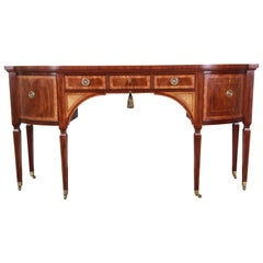 Baker Furniture Stately Homes Sheraton Bow Front Inlaid Mahogany Sideboard